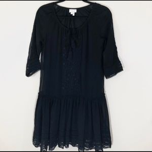 Anthro Meadow Rue Black Embroidered Dress
